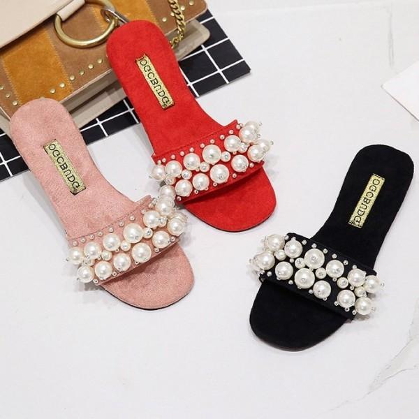 Women's Summer Pearls Slippers Open Toe Ladies Flat Lint Sandals