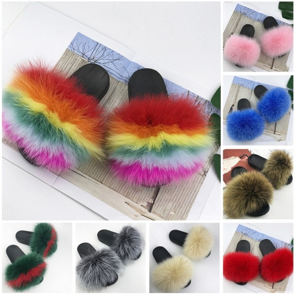 Fox Fur Slides for Little Girls Furry Sandals