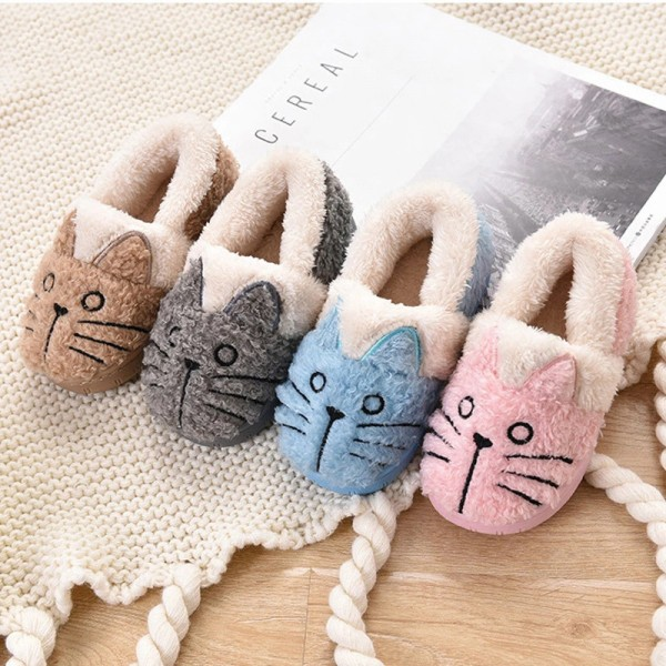 Cute Cat Slippers for Little Girls or Boys Kids Fuzzy Toddler House Shoes