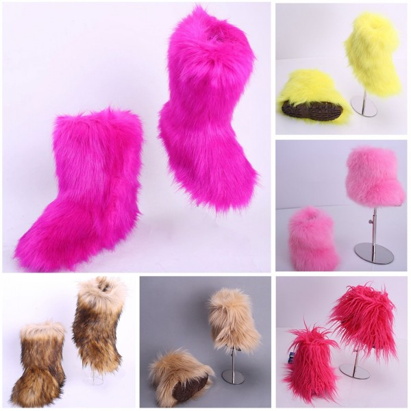 Colorful Faux Fur Boots for Toddlers and Kids Fluffy Girl's Winter Boots