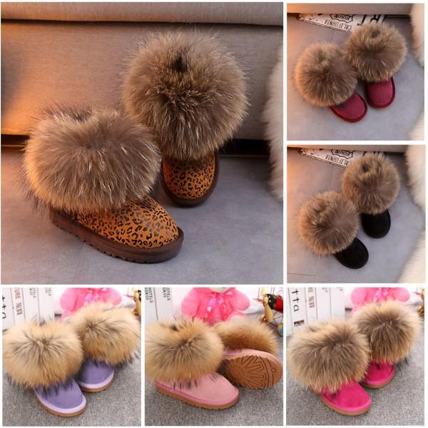 Girl's Boots Fluffy Fox Fur Leopard Short Toddler Girl Boots