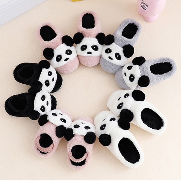 Cute Panda Slippers for Kids and Toddlers Fuzzy House Slippers