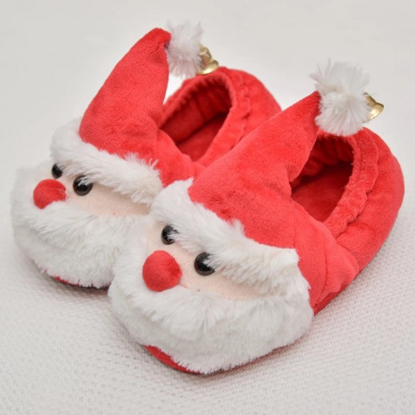 Kids Christmas Slippers Closed Back Fuzzy Santa House Shoes