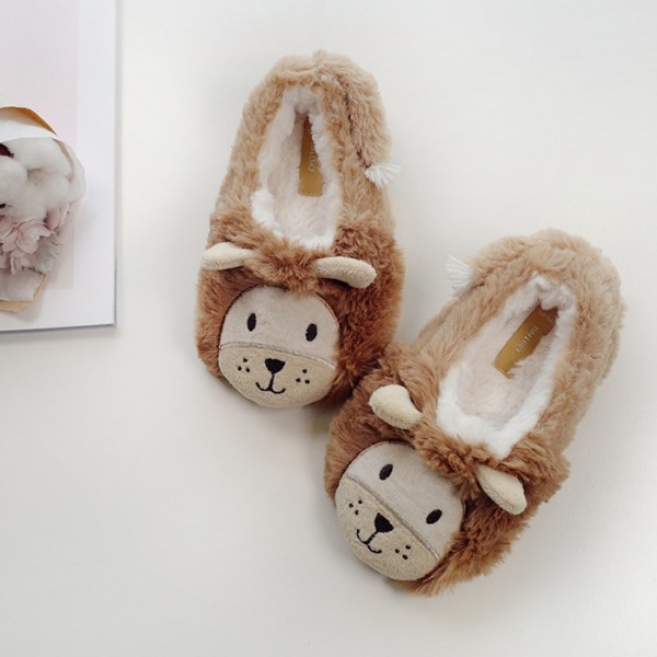 Cute Kids Lion Slippers Fuzzy Closed Back Animal Shoes