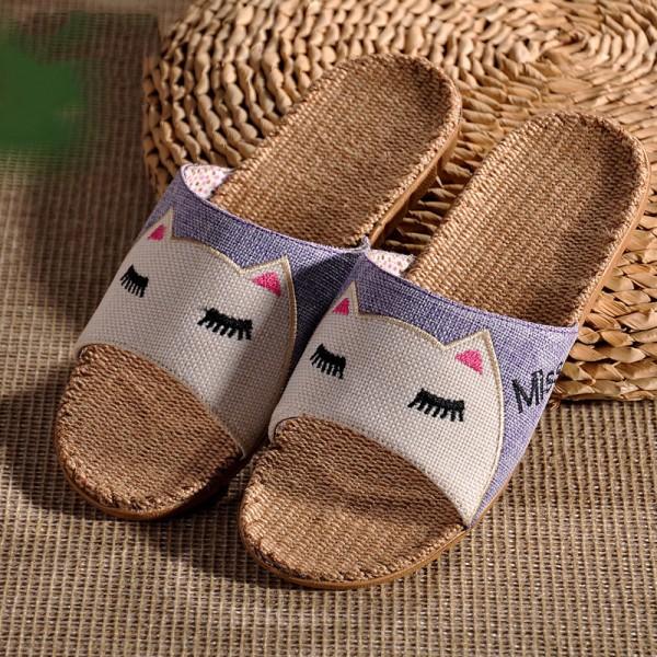 Cute Natural Linen Kids Slippers Open Toe Family House Slides