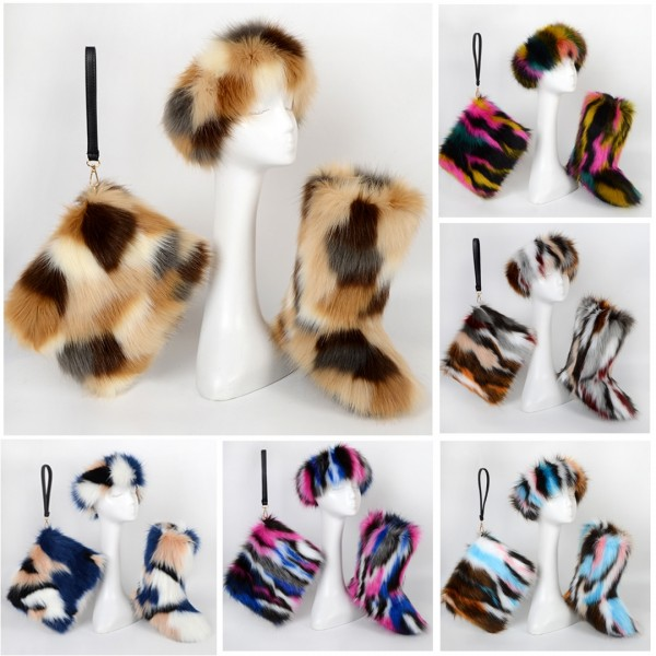 Cute Kids' Faux Fur Boots with Matching Fur Headband and Bag Set