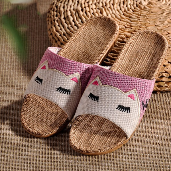 Womens Linen House Slippers Cartoon Cat Flax Casual Sandals for Girls