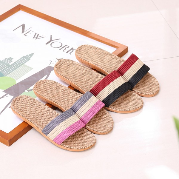 Womens Stripe Linen Slippers Open Toe Ladies House Slides
