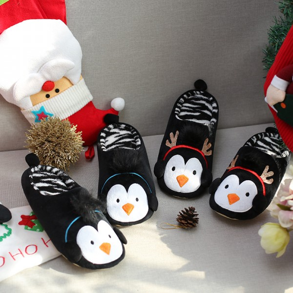Christmas Penguin Slippers for Men and Kids Cute Animal Scuff Slippers