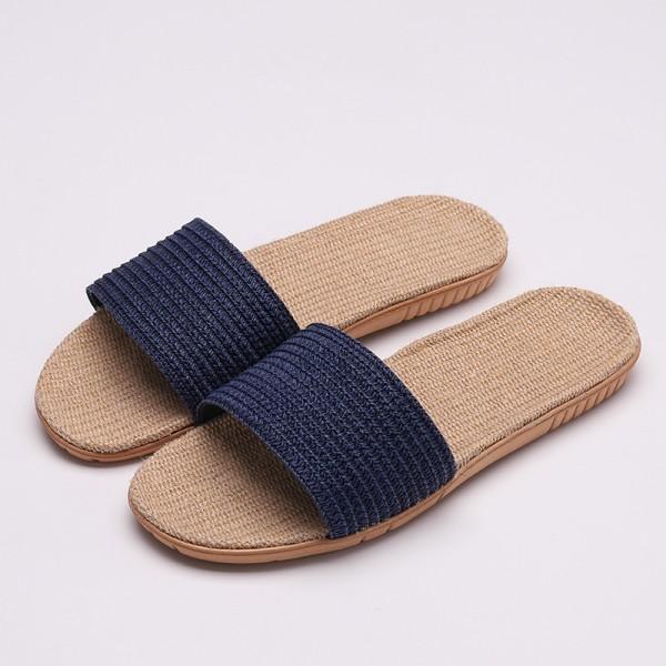 Mens Natural Linen Slippers Wide Open Toe House Hemp Slides