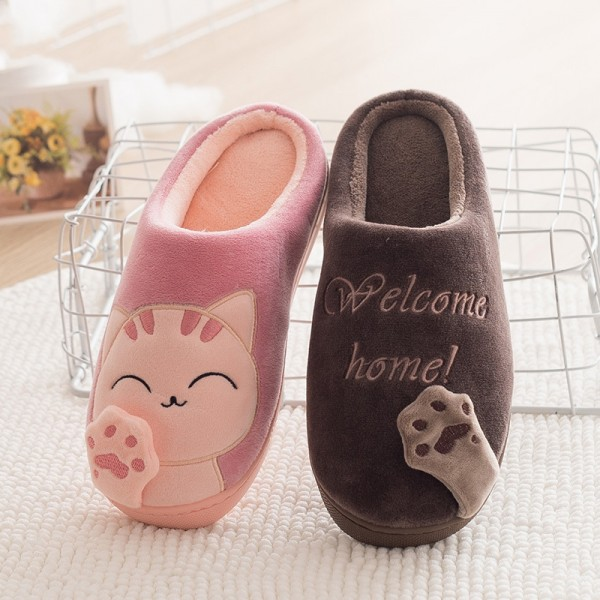 Men's Cat Scuff Slippers Couple Hoodback House Slippers