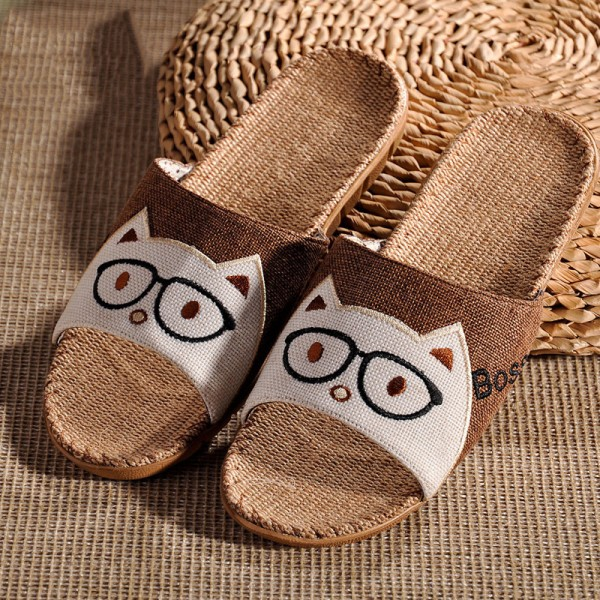 Men's Linen Slippers Open Toe House Flax Slippers
