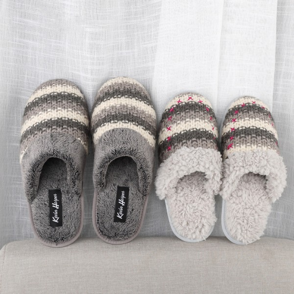 Comfy Mens House Slippers Couple Knit Fleece Scuffs