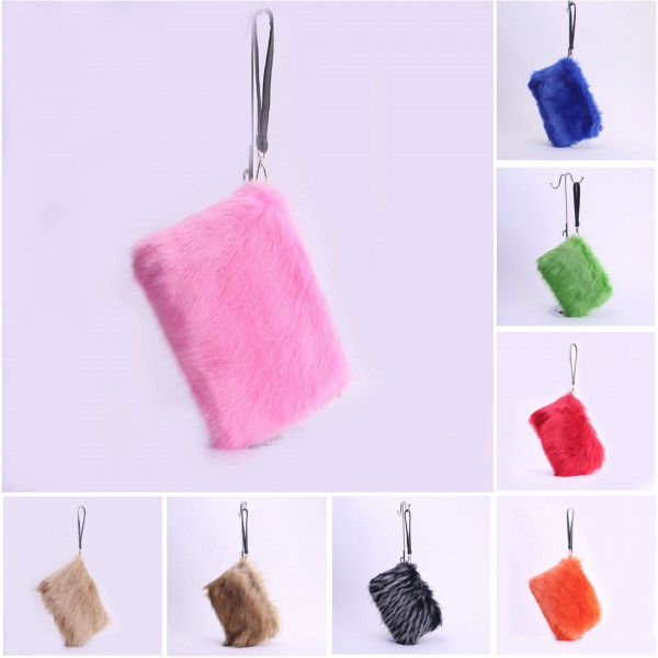 Women's Faux Fur Handbags Evening Clutch Ladies Fuzzy Purses