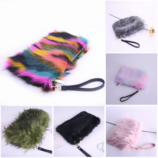 Women's Faux Fur Purse Fashion Winter Fuzzy Wallet
