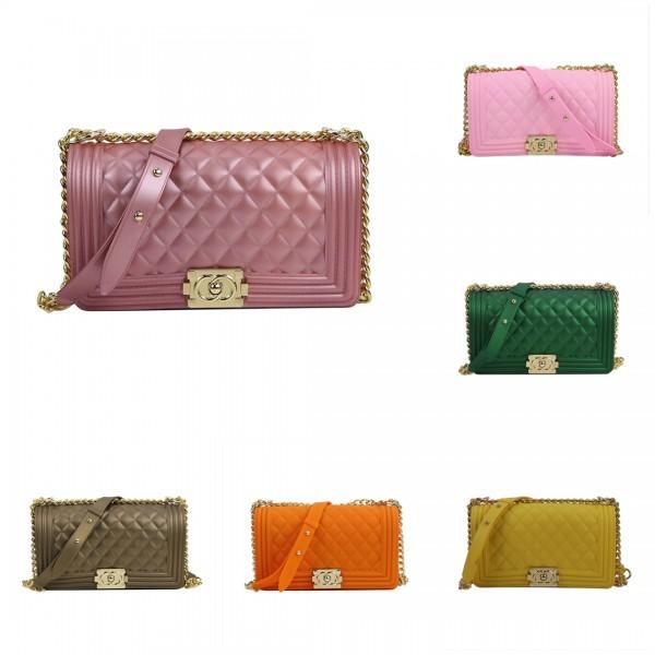 Colorful Women's Handbags Matte Shoulder Bag with Metal Chain