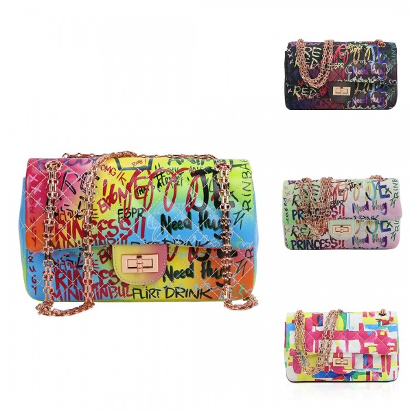 Fashion Graffiti Printed Flap Bag Women's Colorful Cross-body Bag