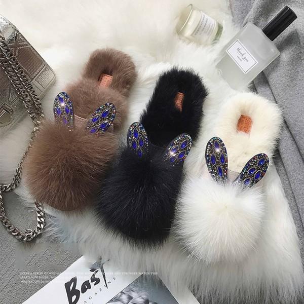 Faux Fur Slippers Rhinestones Bunny Ears Reindeer Furry Outdoor Slipper Shoes