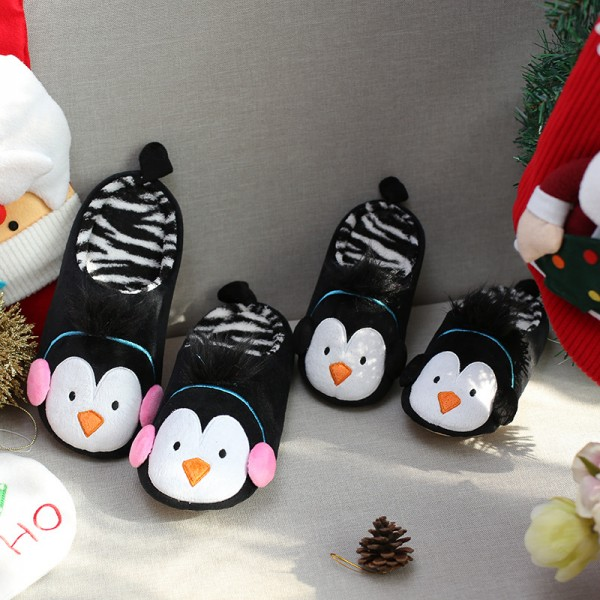 Christmas Penguin Slippers for Women and Girls Cute Animal Scuff Slippers