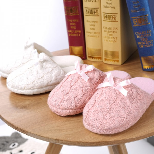 Womens Knitted Scuffette Slippers Cute Ladies Slippers with Bow