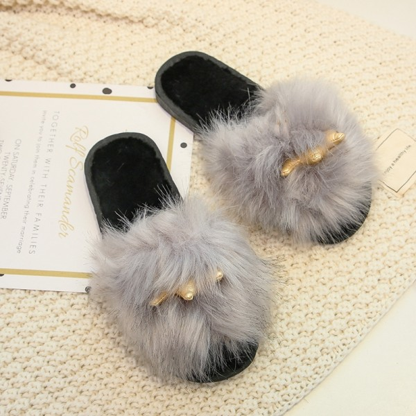 Fluffy Slides with Gold Crown for Women and Girls Open Toe Furry Slipper Shoes