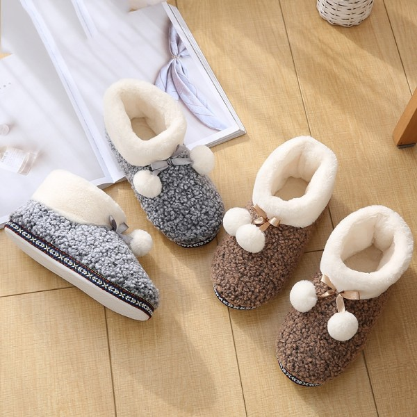 Cute Women's Slipper Boots Girl's Pom Pom Ankle Booties