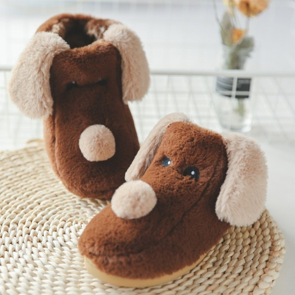 Fuzzy Dog Slippers for Adults & Kids with Long Ears Winter House Shoes