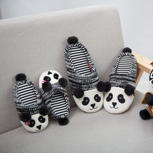 Womens Panda Animal Slippers Knit Mother and Daughter's Scuffs